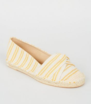 Wide Fit Mustard Stripe Twist Espadrilles