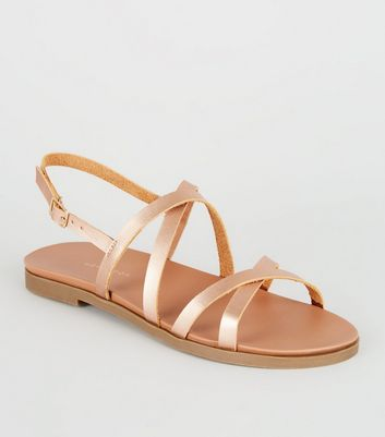Wide Fit Rose Gold Strappy Footbed Sandals