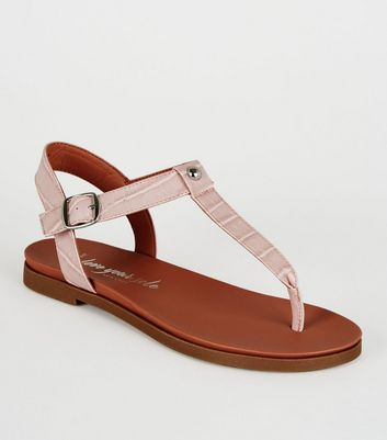 Wide Fit Lilac Faux Croc Footbed Sandals