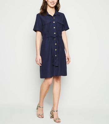 Blue Vanilla Navy Button Up Shirt Dress