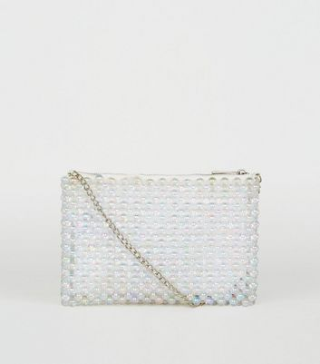 White Iridescent Beaded Cross Body Bag