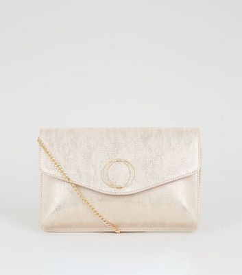 Pink Metallic Diamanté Ring Clutch Bag