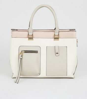 Nude Leather-Look Panelled Tote Bag