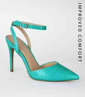 2eb013e10d2121 Escarpins bleu turquoise à effet croco et à deux parties ...