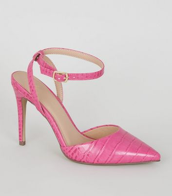 Bright Pink Faux Croc 2 Part Courts