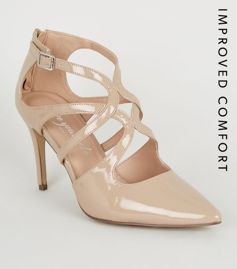 17b16a5f75671 Nude Pointed Strappy Heels · Nude Pointed Strappy Heels ...