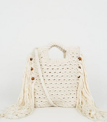 Cream Macramé Tassel Cross Body Bag