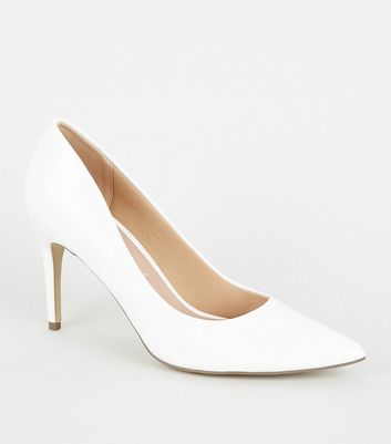 White Patent Crinkle Pointed Court Shoes