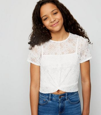 Girls White Lace Twist Front T-Shirt