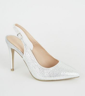 Silver Diamanté Pointed Slingback Stiletto Heels