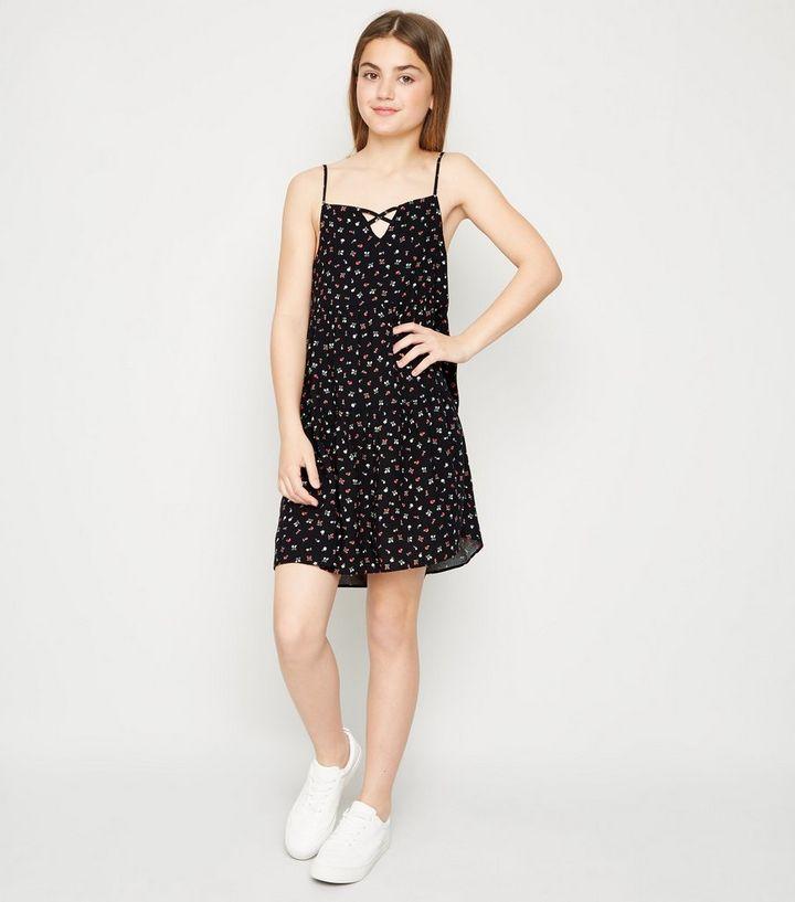 059d99efddd Girls Black Floral Tiered Hem Dress