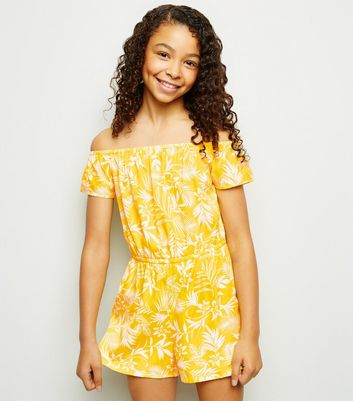 Girls Yellow Tropical Bardot Playsuit