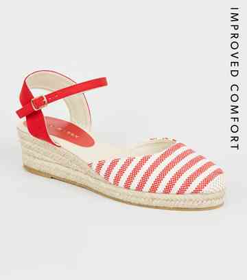 Red Canvas Stripe Woven Espadrille Wedges