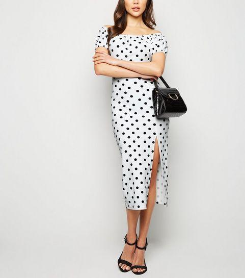 ce06fe9c80550 ... White Spot Side Split Milkmaid Midi Dress ...