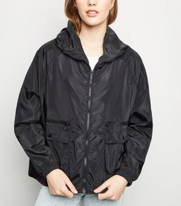 Black Utility Windbreaker Jacket