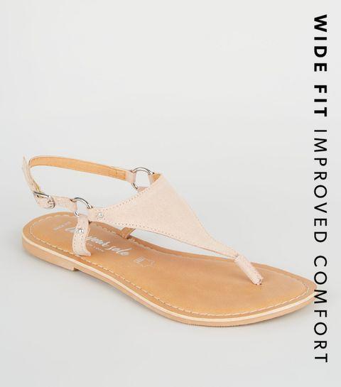 e5d17e2e9d2 ... Wide Fit Nude Suede V Strap Flat Sandals ...