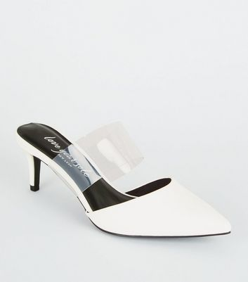 White Leather-Look Clear Strap Mules