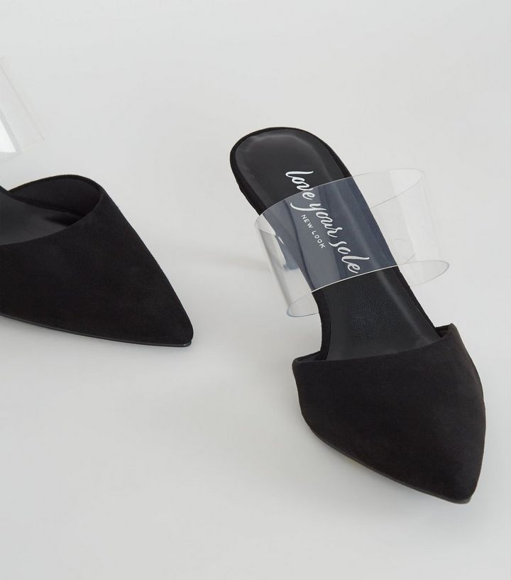 e0cb296d2a7 Black Suedette Clear Strap Mules Add to Saved Items Remove from Saved Items