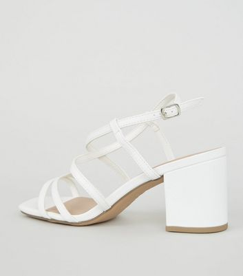 Wide Fit White Strappy Mid Heel Sandals