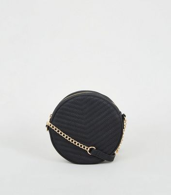 Black Faux Croc Cross Body Bag
