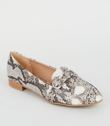 Wide Fit Stone Faux Snake Loafers