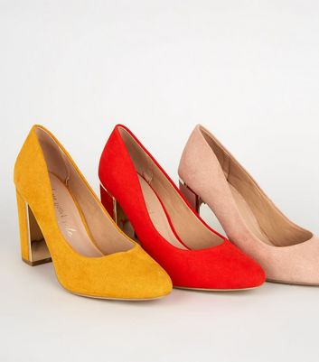 Click to view product details and reviews for Wide Fit Mustard Suedette Metal Heel Courts New Look.