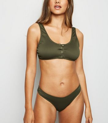 Khaki Ribbed Popper Crop Bikini Top