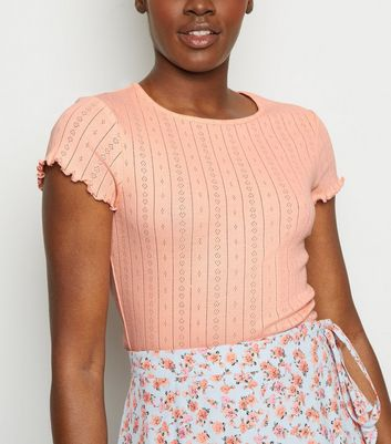 Coral Pointelle Frill Trim T-Shirt