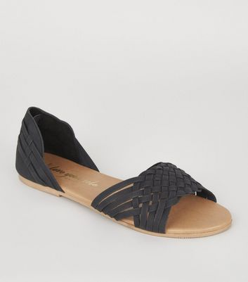Wide Fit Black Leather Woven Flat