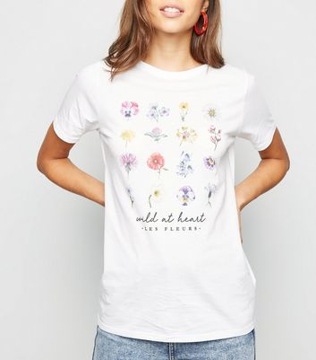 White Floral Wild At Heart Slogan T-Shirt