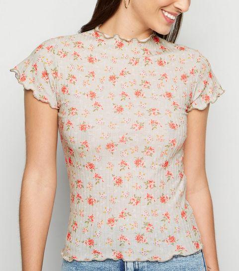 ... Green Floral Frill Trim Rib T-Shirt ... f801bf139828