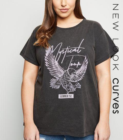5b2da8e9438 ... Curves Grey Mystical Slogan Eagle T-shirt ...