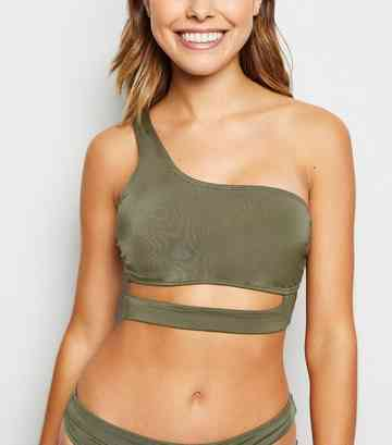 Khaki Cut Out One Shoulder Bikini Top