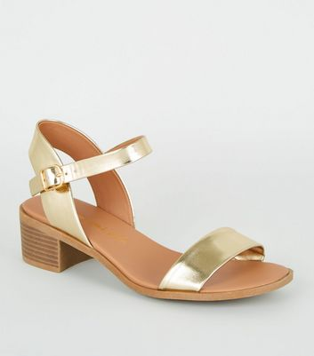 Wide Fit Gold Metallic Footbed Sandals