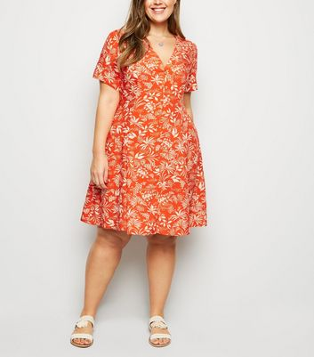 Curves Red Tropical Print Tea Dress