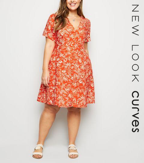 e0e2848679 ... Curves Red Tropical Print Tea Dress ...