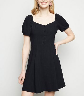 Black Linen Look Puff Sleeve Milkmaid Dress
