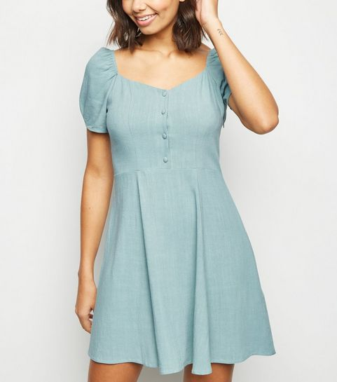 444ab52ab3 ... Mint Green Linen Look Puff Sleeve Dress ...