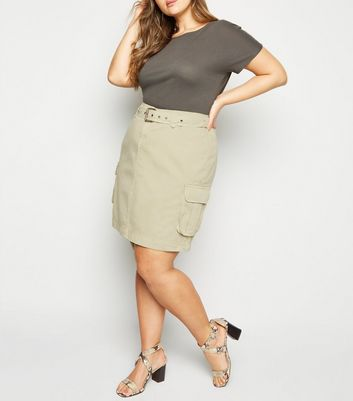 Curves Stone Utility Belted Denim Skirt