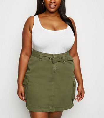 Curves Khaki Denim Belted Utility Skirt