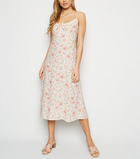 de6850a0e1c30 ... White Floral Tie Front Midi Dress ...