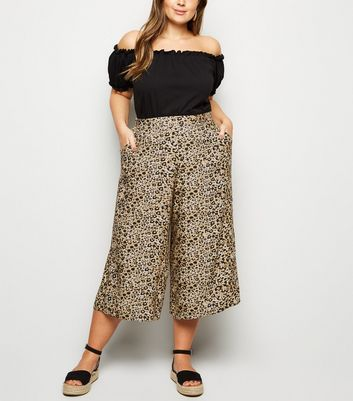 Curves Brown Leopard Print Crop Trousers