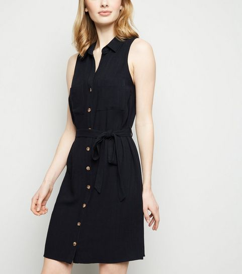 8966314717c ... Black Linen Look Sleeveless Shirt Dress ...