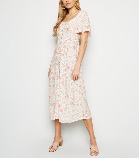 bb1c83cd3a ... White Floral Button Up Midi Milkmaid Dress ...