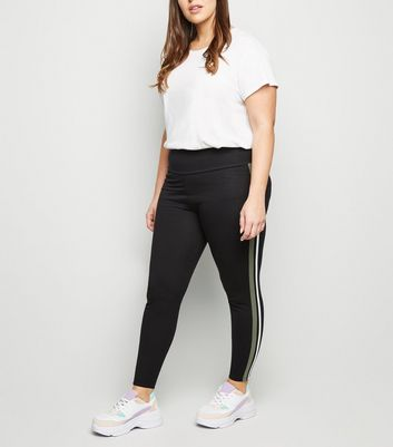 Curves Black Side Stripe Leggings