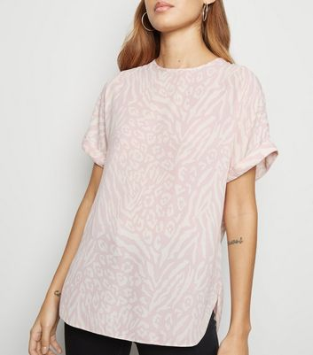 Pink Mixed Animal Print Oversized Top