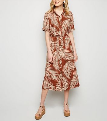 Brown Palm Print Tie Waist Midi Dress