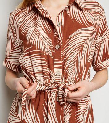New Look Plus Size  Leaf Print Tie Waist Shorts