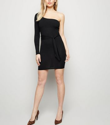 Black Ribbed One Shoulder Bodycon Dress