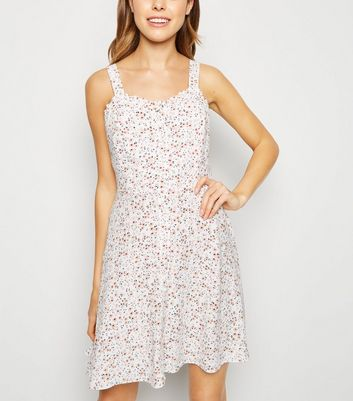 Off White Ditsy Floral Frill Trim Mini Sundress